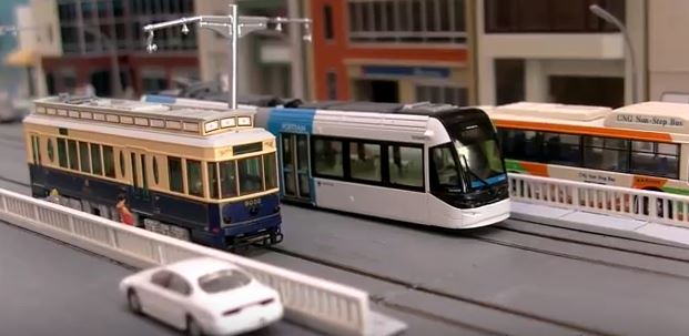 model trams on railroad layout