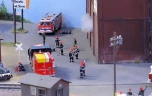 model railroad fire scene