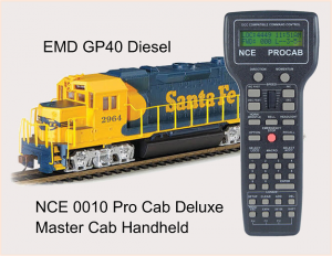 NCE 0010 Pro Cab Deluxe Master Cab Handheld Remote and Bachmann 66801 HO Scale EMD GP38 2 DCC Santa Fe