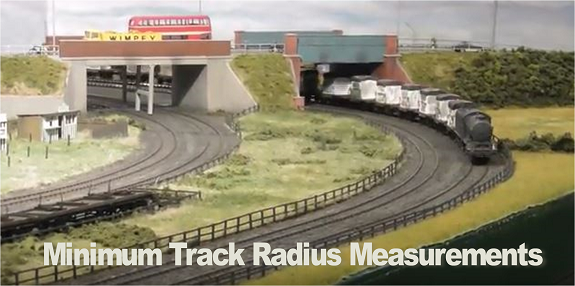 minimum track radius dimensions measurements model railways