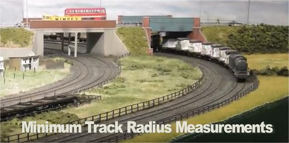 minimum track radius dimensions measurements model railways